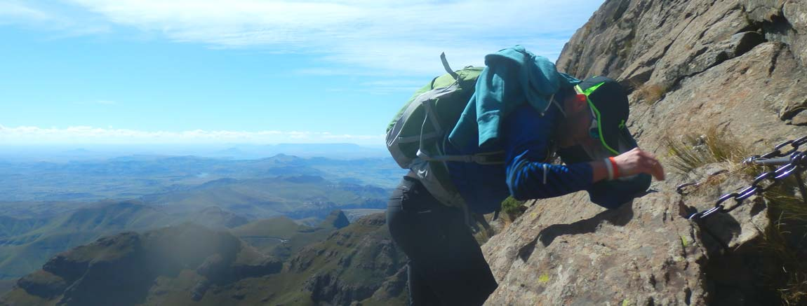 Hiking the Drakensberg - climbing The Amphitheatre's chain ladder